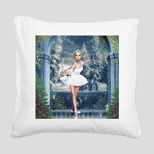 Snow Princess Nutcracker Ball Square Canvas Pillow