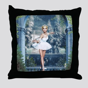 Snow Princess Nutcracker Ballerina Throw Pillow