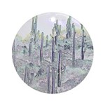 Many Saguaros Recreated Ornament (Round)