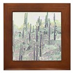 Many Saguaros Recreated Framed Tile