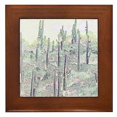 Many Saguaros Recreated Framed Tile