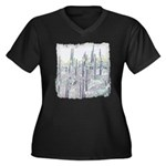 Many Saguaro Women's Plus Size V-Neck Dark T-Shirt