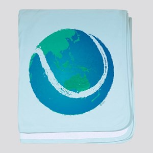 world tennis ball globe baby blanket