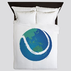 tennis ball world globe Queen Duvet