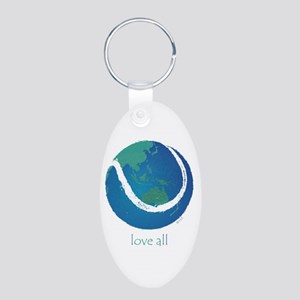 love all world tennis Aluminum Oval Keychain