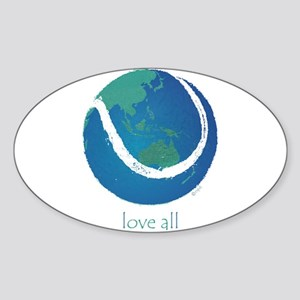 love all world tennis Sticker (Oval)