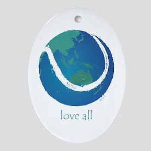 love all world tennis Ornament (Oval)