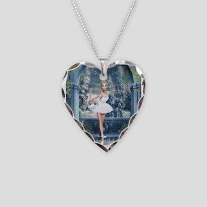 Snow Princess Nutcracker Ball Necklace Heart Charm