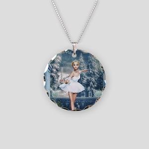 Snow Princess Nutcracker Bal Necklace Circle Charm