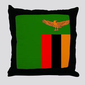Zambian Flag Throw Pillow