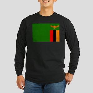 Zambian Flag Long Sleeve Dark T-Shirt