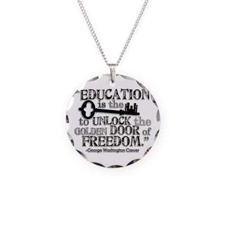 Education Quote Necklace Circle Charm