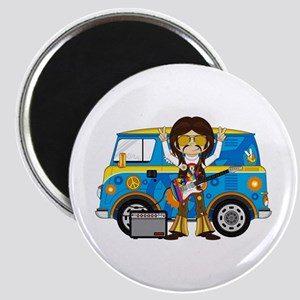 Hippie Boy and Camper Van Magnet