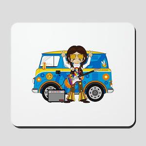 Hippie Boy and Camper Van Mousepad