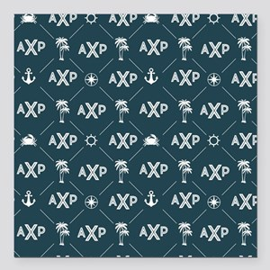 "Alpha Chi Rho Pattern Blue Square Car Magnet 3"" x"