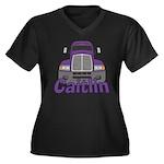 Trucker Caitlin Women's Plus Size V-Neck Dark T-Sh