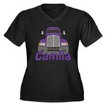 Trucker Camila Women's Plus Size V-Neck Dark T-Shi