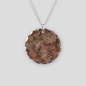 Camomoto Marijuana Fabric #4 Necklace Circle Charm