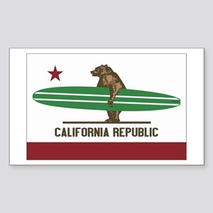 California Surfing Bear Longboard Flag Sticker