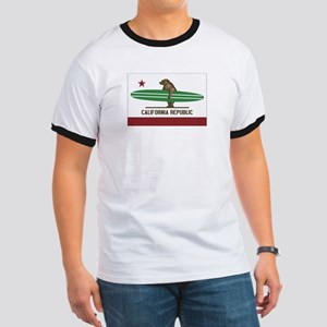 California Surfing Bear Longboard Flag Ringer T