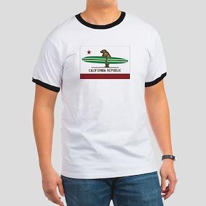 California Surfing Bear Longboard Flag Ringer T