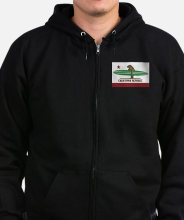 California Surfing Bear Longboard Flag Zip Hoodie