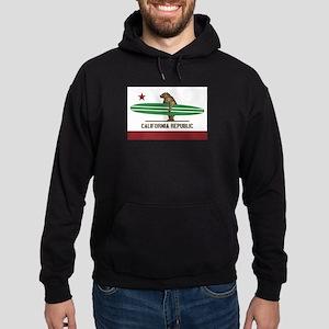 California Surfing Bear Longboard Flag Hoodie (dar