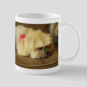 indoor dogs floppy ears Koko with pink ribbon Mugs
