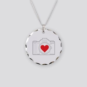 Camera Heart Necklace Circle Charm