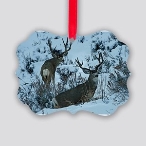 Deer in snow Picture Ornament