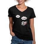 Cow Hugger Women's V-Neck Dark T-Shirt