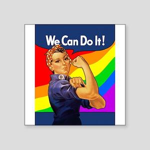 """rosie-rainbow_9x12 Square Sticker 3"""" x 3"""""""