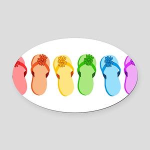 flip-flops-rainbow_tr Oval Car Magnet