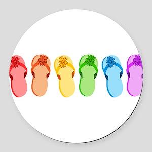 flip-flops-rainbow_tr Round Car Magnet