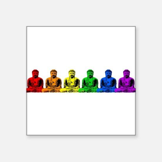 "tr_buddhas-rainbow.png Square Sticker 3"" x 3"""