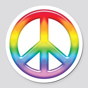rainbow_peace Round Car Magnet