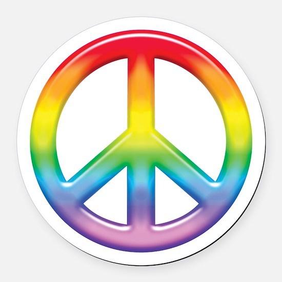 rainbow_peace.jpg Round Car Magnet