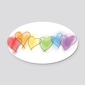 hearts-watercolor-row_tr Oval Car Magnet