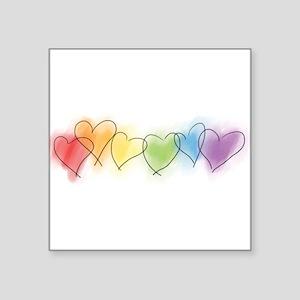 """hearts-watercolor-row_tr Square Sticker 3"""" x 3"""