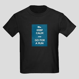 Keep Calm and Go For a Run Kids Dark T-Shirt