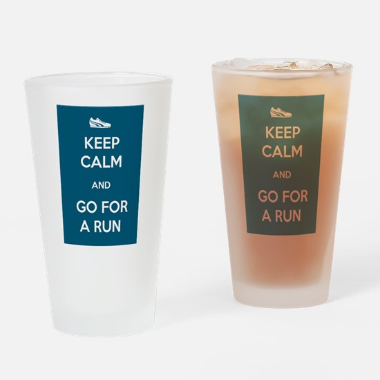 Keep Calm and Go For a Run Drinking Glass
