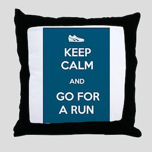 Keep Calm and Go For a Run Throw Pillow