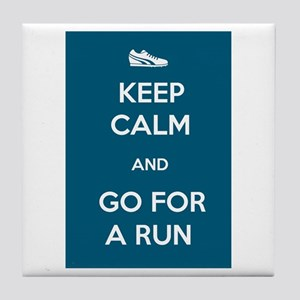 Keep Calm and Go For a Run Tile Coaster