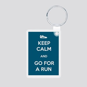 Keep Calm and Go For a Run Aluminum Photo Keychain