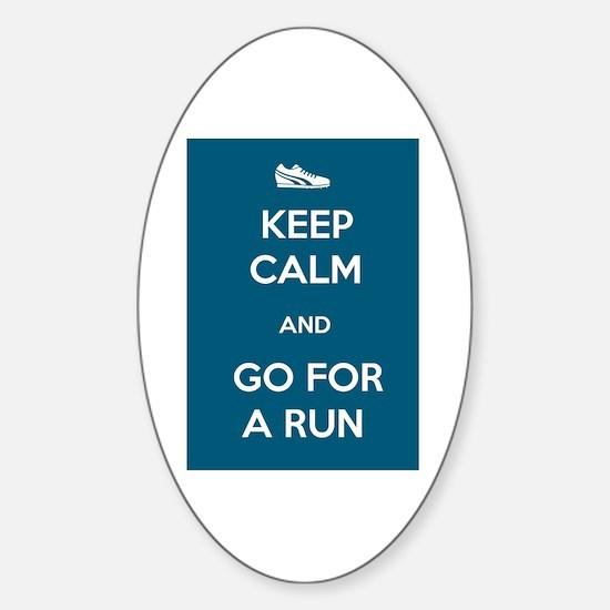 Keep Calm and Go For a Run Sticker (Oval)