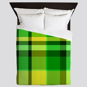 Green and Yellow Plaid Queen Duvet