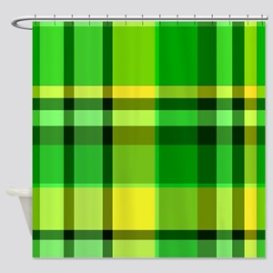 Green and Yellow Plaid Shower Curtain