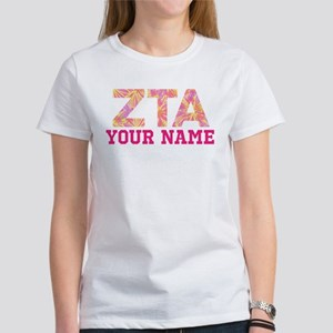 Zeta Tau Alpha Pink Women's Classic White T-Shirt