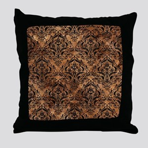DAMASK1 BLACK MARBLE & BROWN STONE (R Throw Pillow