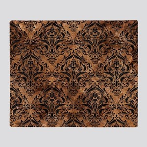 DAMASK1 BLACK MARBLE & BROWN STONE ( Throw Blanket